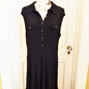 NY&Co Black Stretch Sleeveless Collar Dress Sz XL